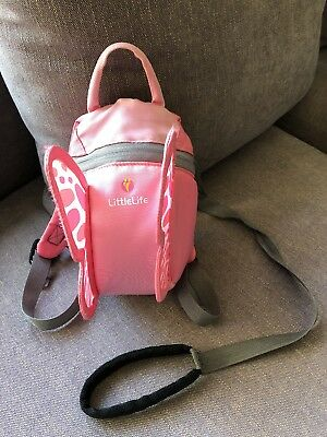 LittleLife Toddler Animal Backpack With Rein Pink Wings Butterfly