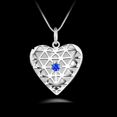 UK Crystal Hollow Heart 925 Silver PLT Photo Pendant Chain Necklace With Chain
