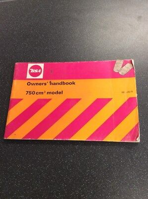 Genuine Nos Bsa 750 Cm Model 00-4219 Owners Handbook