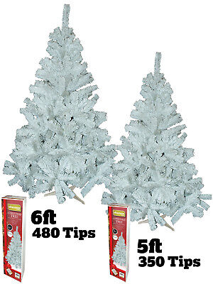 5ft 6ft White Christmas Tree Artificial Snow Pine Xmas 350 480 tips Metal Stand