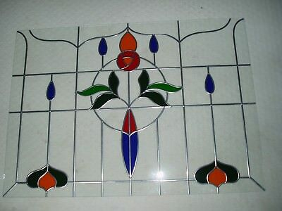 Toughened Stained Glass Window with leaded and clear glass