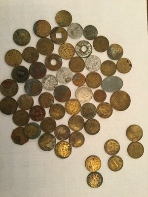 55 Pc. LOT ANTIQUE VINTAGE BRASS n SILVER TRADE TOKENS COINS CHICAGO Illinois