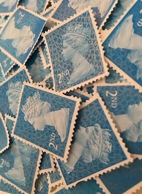 250 X Blue 2nd Class Unfranked Off Paper No Gum Postage Stamps - FV £152