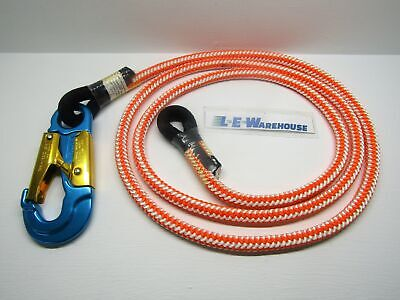 "1/2"" X 8' Or/wht 16-Strand One Eye Splice Rope Lanyard W/ Alum Blue Snap #75711"