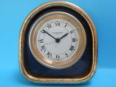 "A nice vintage ""Cartier"" gold plated & Lapis Lazuli travel clock.spares/repair"