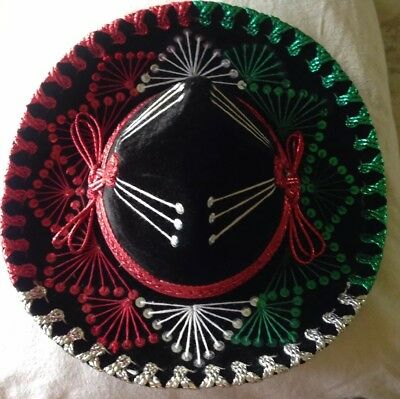 Authentic Vintage Salazar Yepez  Mexican Sequinned Sombrero Hat Velvet