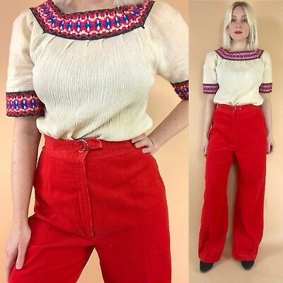"""1970s Red Corduroy Wide Leg High Waisted Flares Belted Retro 70s Pants 23-29"""""""