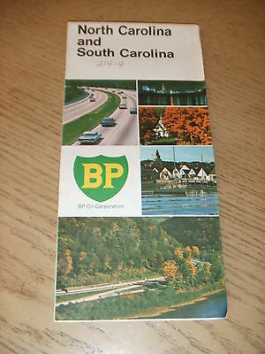 VINTAGE 1969 BP Oil Gas North South Carolina State Highway Road Map Durham Salem
