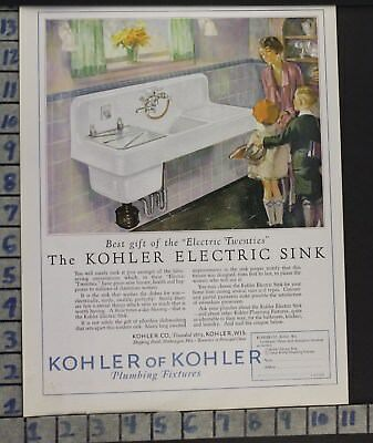 1927 Kohler Plumbing Sink Kitchen Electric Home Decor Vintage Art Ad  Cf57