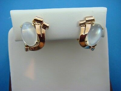14K Rose And Yellow Gold Moon Stone Vintage Clip Earrings 5.8 Grams