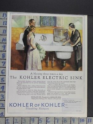 1927 Kohler Sink Kitchen Fixture Dishwasher Home Decor Vintage Art Ad  Cn78
