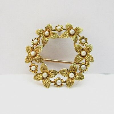 Very Pretty Edwardian 15ct Gold & Pearl Forget me not Brooch