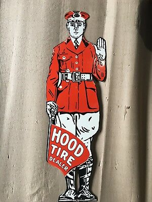"""Porcelain HOOD TIRE DEALER Die Cut Sign SIZE 32.5"""" X 10"""" INCHES Pre-Owned"""