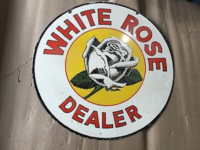 Porcelain White Rose Enamel Porcelain Sign 30 Inches Round double sided Pre-Own