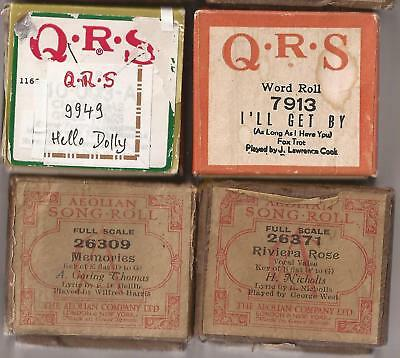 Pianola Rolls x 4 QRS Hello Dolly + I'll Get By + 2 old rolls