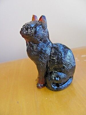 Signed Mosser Glass Root Beer Brown  Glass Cat Figurine