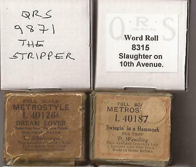 Pianola Rolls x 4 - QRS The Stripper + Wind in the Willows + 2 more
