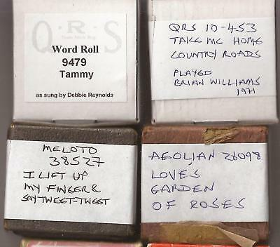 Pianola Rolls x 4 - QRS Take me Home Country Roads + Tammy + 2 more