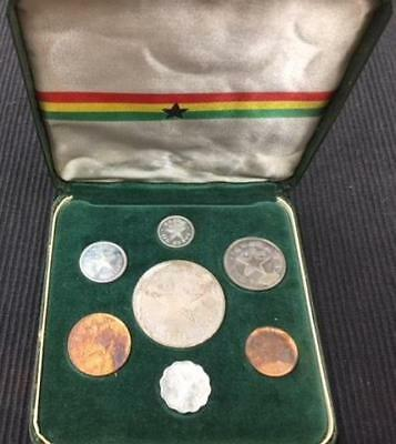 1958 Ghana Proof Set - 7 Coin Set Including Silver 10 Shilling in Original Case