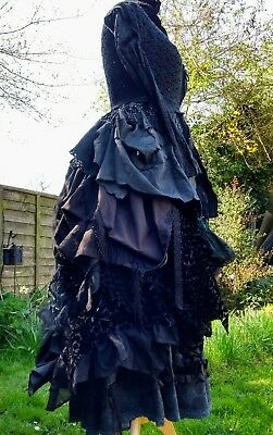Quirky Unique Ruffle Layered Tiered Steampunk Gothic Gypsy Larp Bustle Overskirt