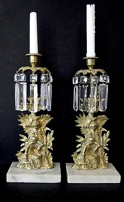 "Antique French ""YOUNG COUPLE"" GIRANDOLE/CANDLE HOLDERS - PAIR"