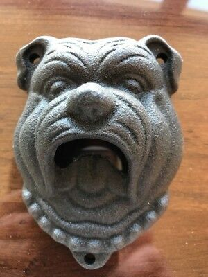 POTTERY BARN BULLDOG BOTTLE OPENER CAST WALL MOUNT BEER BAR PUB RUSTIC Man Cave