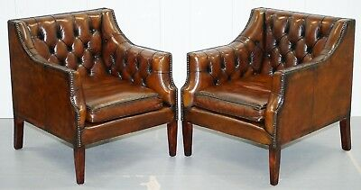 Rrp £13800 Pair George Smith Chesterfield Armchairs Brown Leather Sofa Available