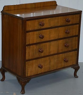 Edwardian Walnut Cabriole Legged Hand Made Circa 1910 Chest Of Drawers