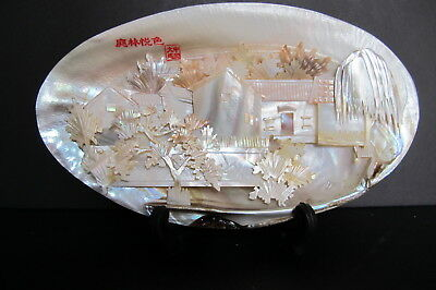 Antique Chinese Carved Scenic Mother of Pearl Shell Diorama Original Box