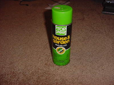 VINTAGE TIN SPRAY CAN TOP CREST HOUSE & GARDEN BUG KILLER 14 oz  80s 90s PROP