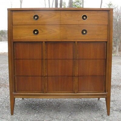 MID CENTURY MODERN WALNUT TALL DRESSER danish chest of drawers cabinet bureau