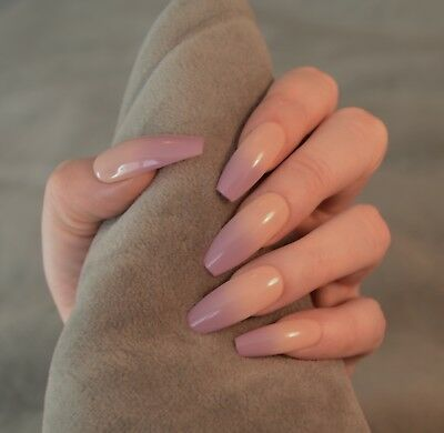 FALSE NAILS - Nude Lilac Ombre, Baby Boomer - Glue On - The Holy Nail