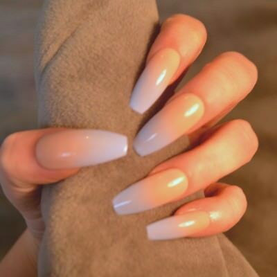FALSE NAILS - Nude Sky Blue Ombre, Baby Boomer - Glue On - The Holy Nail
