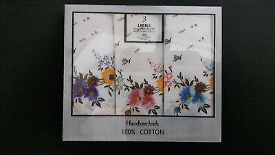 3 NEW 100% Full Combed Cotton Ladies Woman's High Quality #1Floral Handkerchiefs