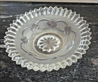 "ANTIQUE GLASS BOWL VICTORIAN C.1870 9"" x 2"" MOULDED& ACID ETCHED"
