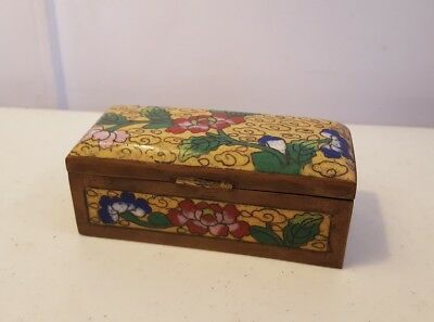 Yellow Cloisonne Antique China Chinese Stamp Box with red and blue Flowers