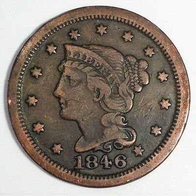1846 Braided Hair Large Cent Beautiful Coin