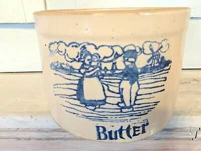 Heavy Crock with Blue Illustration of Dutch Boy and Girl and the word 'Butter'