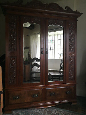 A Stunning Antique Shabby Chic Double Wardrobe / Armoire.