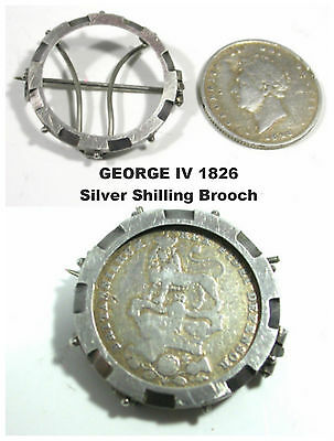 George IV Shilling Brooch Solid Sterling Silver coin c1826 mount c1970