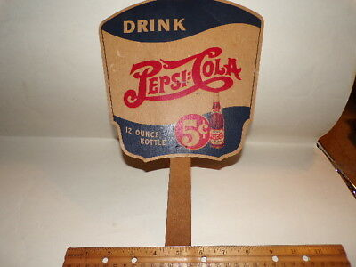 VINTAGE 1940 PEPSI-COLA ADVERTISING FAN with KEYSTONE COPS - 5 CENTS - CARDBOARD