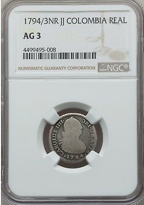 1794 / 3 NR JJ Colombia 1 Real, NGC AG3 Rare Only Graded Example Unpriced Krause