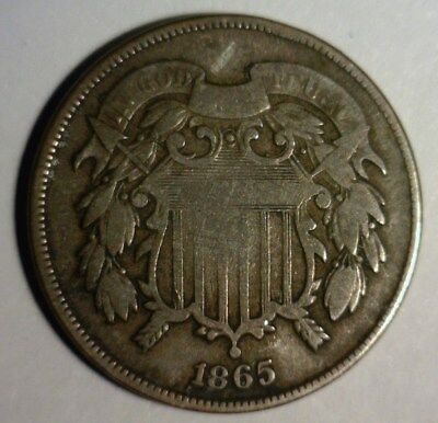 1865  Two Cent Piece  Circulated    Nice Looking Coin!!!