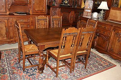 Antique French Oak Brittany 7 Piece Dining Room Furniture Set Table & 6 Chairs