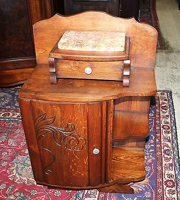 Small French Antique Art Deco Oak Nightstand Bedside Table with Marble Top
