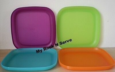 Tupperware 4 Luncheon Square Plates 8  New Colorful New & TUPPERWARE 4 LUNCHEON Square Plates 8