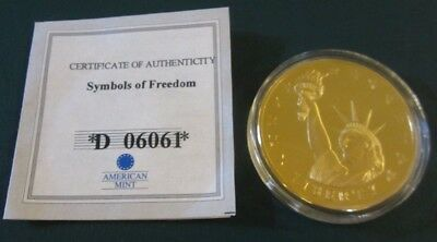 American Mint Statue Of Liberty Commemorative Coin 24 Kt. Gold Layered