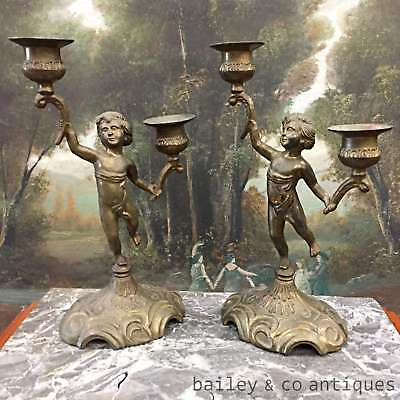 Antique French Pair Candelabra Candlesticks Cherub Candle Holders - QN604