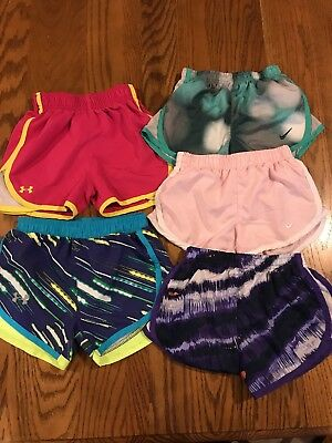 Underarmour, Nike 4/4t Sport Girls Athletic Shorts Multi Color -lot1 with 5 pair