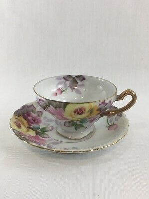 Vintage Hand Painted Tea Cup and Saucer - Norcrest Fine Bone China Cup and Sauce
